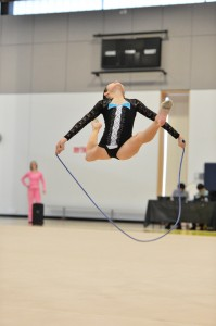 Young gymnast jumping